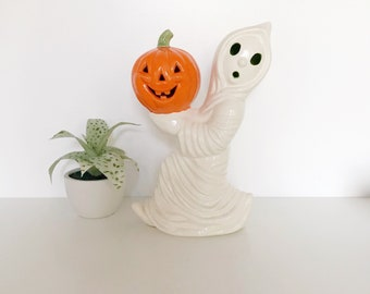 Vintage Ceramic Ghost Holding a Pumpkin, Light Up Ceramic Ghost Statue, Green Interior, Scared Ghost, Halloween Decor, Vintage Holiday