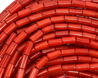 "8mm red coral tube beads 15.5"" strand 39087"