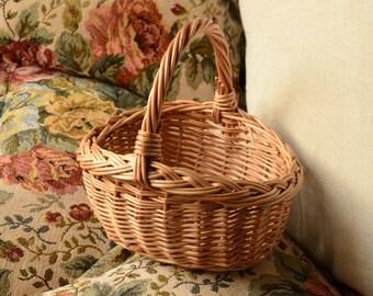 Handwoven Kids Wicker Basket, Mini Wicker Basket, Easter Basket, Egg Hunt Basket,Small Flower Girl Basket,Rustic Small Basket, Easter Basket