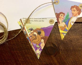Beauty and the Beast Bunting - Fairytale - Classic Disney - Vintage Book Bunting - Childrens Gift - Nursery