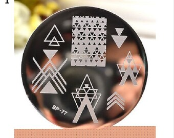 Nail Art Stamping ,Round Stamping Plates,Stamp Template, Image Plates,Nails,Triangle,Alphabet Theme ,Floral,Christmas,Music,Free Shipping