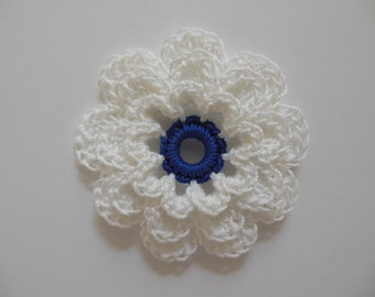 Crocheted Flower - White with Royal Blue - Cotton Flower - Crocheted Flower Applique - Crocheted Flower Embellishment