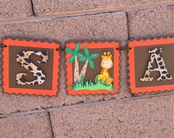 Jungle Its A Boy Banner, Jungle Baby Shower Banner, leopard, monkey, giraffe