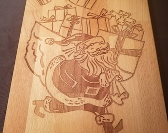 Engraved Santa with his Bag of Gifts Serving Board.