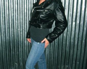 Black Leather Jacket, Leather Motorcycle Jacket, Cropped Leather Jacket, 90s Leather Jacket, Women's Leather Jacket