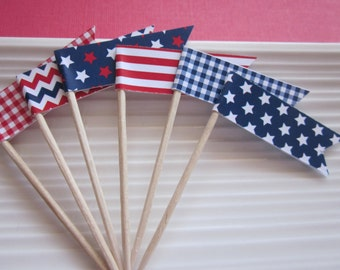 Fourth of July / Patriotic / red white and blue / cupcake  toppers / food picks / set of 24
