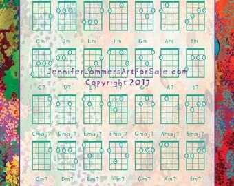 Basic Ukulele Chord Chart 8x10 with Art by Jenlo