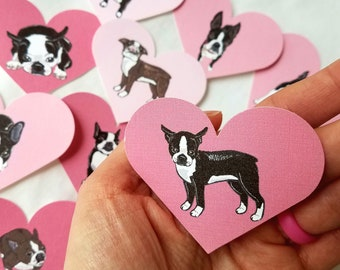 Boston Terrier Heart Collection - Eco-friendly Set of 12 - Scrapbooking Embellishment