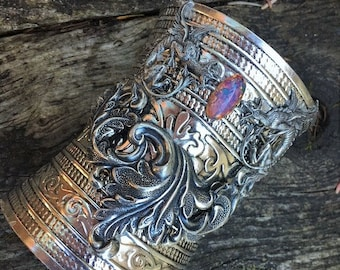 Extra Wide Bracer Cuff Bracelet Fantasy Medieval Renaissance Viking Dueling Dragons and Opal