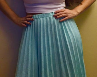 1970's Teal Pleated Wool Blend Skirt
