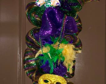 Mardi Gras Wreath/Swag-READY TO SHIP!