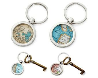 Custom KeyChain Map Ring Made to Order Your City  personalized city key ring Wedding Favor