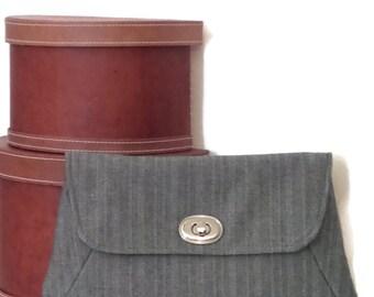 Clutch / Clutch Bag / Large Clutch Bag / Clutch Purse / Purse / Evening Bag / Handbag / Gray Herringbone