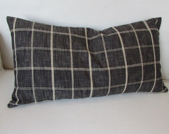 13x26 charcoal black plaid decorative lumbar bolster pillow with insert