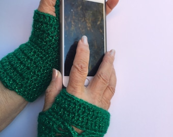 Green fingerless gloves, Glamour Gauntlets, butterfly gift gloves, bride or bridesmaid, neo-Victorian or steampunk wrist cuff.