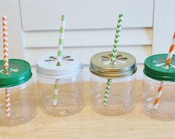 Plastic Mason Jars, Kids Plastic Cups, Colored Daisy Lids, Plastic Party Cups, Wedding, Baby Shower, Kids Birthday, Favors