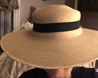 Stunning Natural Straw Gardening Hat Wide Brimmed Sun Hat Vintage Straw Hat Movie Star Statement Hat Movie Star Beach Hat