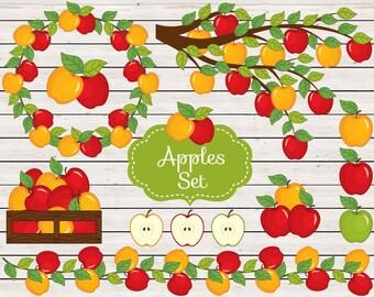 Apples Clipart - Vector Apple Clipart, Rustic Clipart, Apple Clipart, Harvest Clipart, Apple Branch Clipart, Apples Clip Art