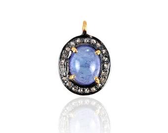 Silver Diamond Tanzanite Charm ESDC-1626