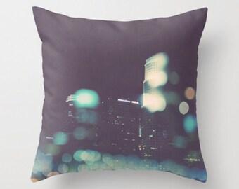 LA pillow cover, Los Angeles home decor, downtown LA skyline, bokeh, midnight blue decor, girls room, teenager, dorm decor, photo pillow