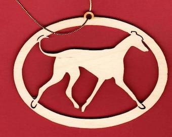 "Greyhound Wood Silhouette Ornament ""Jacki"""