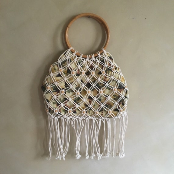 Vintage Macrame Purse with Pineapple Print