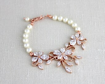 Rose Gold bracelet, Wedding jewelry, Swarovski Crystal bracelet, Bridal bracelet, Pearl bracelet, Wedding bracelet, Rhinestone bracelet