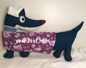 "Personalized Iron-on Vinyl Dachshund Plush (11""L x 14.5"")"