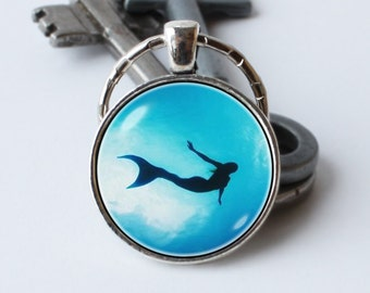 Mermaid keychain Mermaid keyring Wife gift Little mermaid key chain Mermaid pendant Ocean key ring Sea keychain Mermaid jewelry Girl jewelry