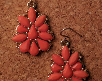 Gold & Orange Patterned Drop Earrings