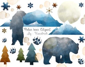Polar Bear watercolor clipart : Instant Download PNG file - 300 dpi