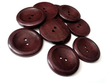 "Big Dark Brown button - 3 large wooden buttons 40mm (1 5/8"")"