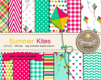 Kite Digital papers and Clipart, Summer Kite, Baby Shower, Birthday Scrapbooking Paper Party Theme,