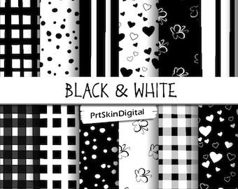 Black White Digital Paper, Black White Paper, Black White Scrapbook, INSTANT DOWNLOAD, polka dots, gingham, stripes