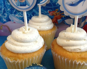 Cinderella cupcake toppers , favors, 12 ready to ship toppers