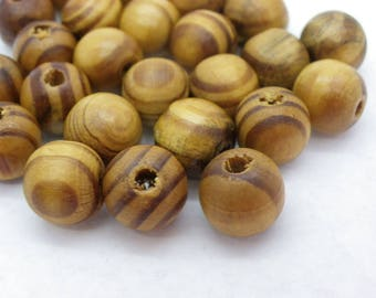 50 16 mm hole 4 mm natural Brown wood beads