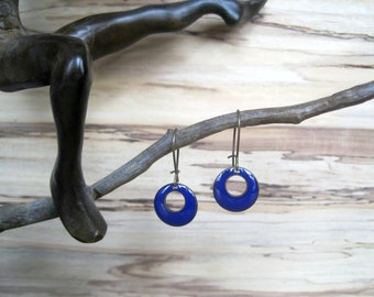 Short Cobalt Blue Dangle Earrings, Blue Domed Drop Earrings, Copper Enamel Jewelry, Nickel Free Kidney Earwires, Handmade Enamel Earrings