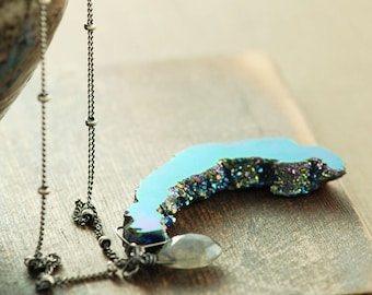Mystic Druzy Necklace with Labradorite,  Sterling Silver Drusy Slice Pendant, Rainbow Druzy Jewelry