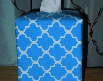 Ready To Ship - Blue and White Abstract Print Color Fabric Tissue Cover