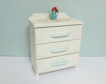 Vintage Child's Doll Dresser with Off-White Paint, Light Aqua Handles and 3 Drawers... Very Sweet!