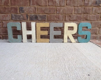 "8"" Painted Letters. Painted and Distressed for a Faux Aged Metal Style. Industrial Style Letters."