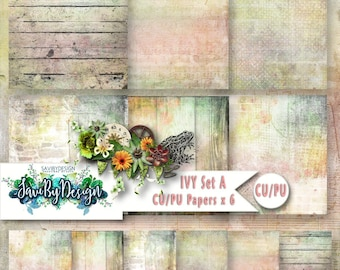 CU Commercial Use Background Papers set of 6 for Digital Scrapbooking or Craft projects Ivy Set A, Designer Stock Papers