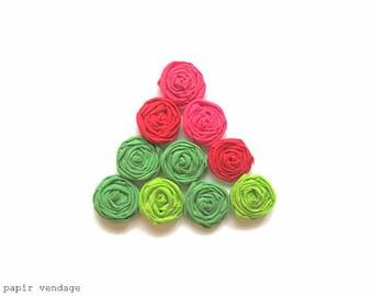 10 Christmas Fabric Rosettes Embellishments, Christmas Flowers, Christmas DIY rosettes, Christmas Decorations, Red & Green Rosettes