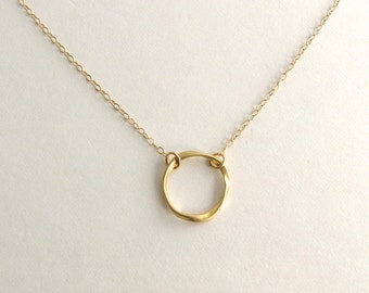 Twisted Gold Circle Necklace, Twisted Gold Eternity Necklace, Gold Halo Necklace, Matte Gold Hoop Necklace - 14K Gold Filled Chain