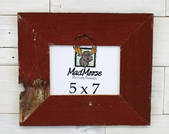 "5x7 Red Barn Wood [Thin x 3""]  Picture Frame... a.k.a. Rustic Red Picture Frame made from Weathered Wood"