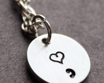 Heart SemiColon Necklace, Semicolon Jewelry, Tiny Minimalist Jewelry