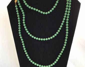Vintage, Flapper Style, Green Beaded Necklace/ Long/1960s