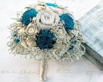 Rustic Bridal Bouquet - Teal Blue // Wedding Bouquet, Bride Bouquet, Burlap Bouquet, Sola Wood Flower, Dried Flower, Wedding Flower Bouquet