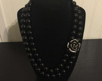 Double Strand Rose Accent Necklace
