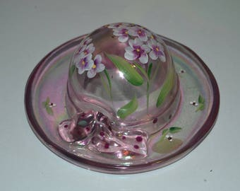 Fenton Glass Hand Painted Iridescent Pink Ladies Hat with Flowers